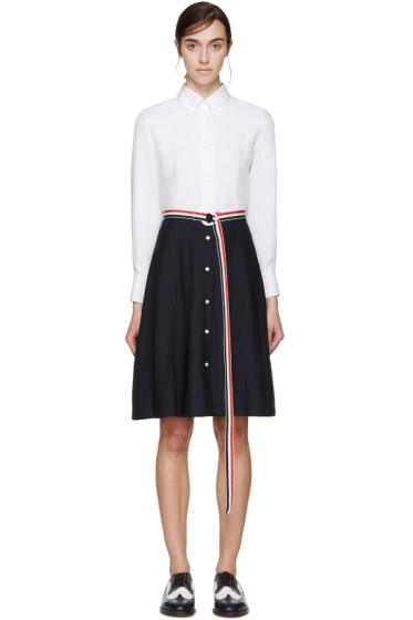 Thom Browne - White & Navy Pleated Shirt Dress
