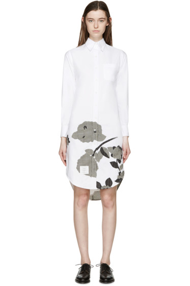 Thom Browne - White Intarsia Hydrangea Shirt Dress