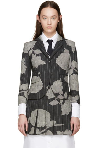 Thom Browne - Grey Intarsia Little Boy Blazer