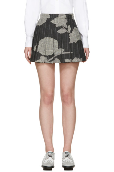 Thom Browne - Grey Pleated Intarsia Miniskirt
