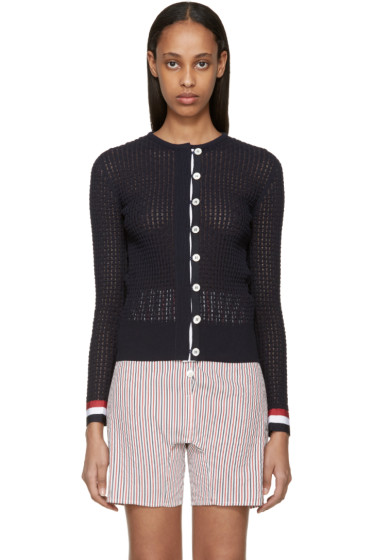 Thom Browne - Navy Ripple Stitch Cardigan