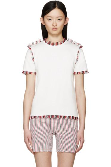 Thom Browne - White Short Sleeve Fringed Sweater