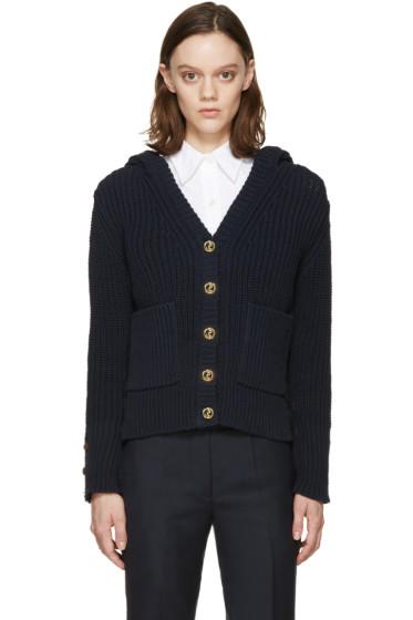 Thom Browne - Navy Knit Hooded Cardigan