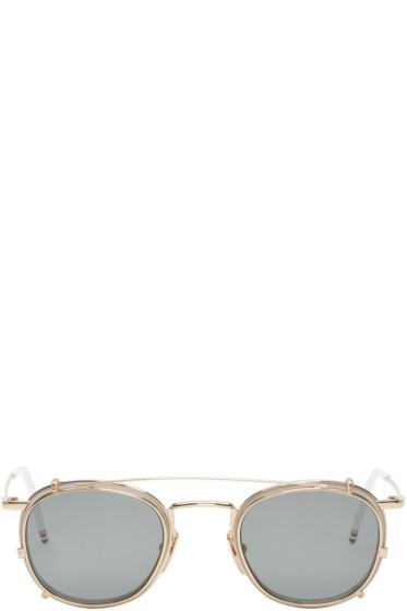 Thom Browne - White & Gold Clip-On Sunglasses