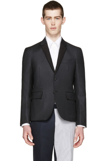 Thom Browne - Grey Silk Lapel Blazer