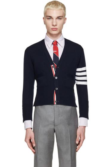 Thom Browne - Navy Cashmere Striped Armband Cardigan