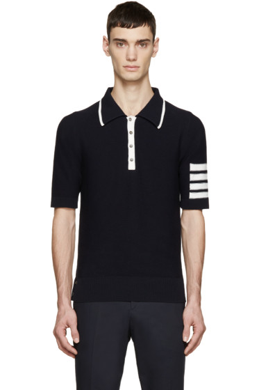 Thom Browne - Navy Knit Striped Armband Polo
