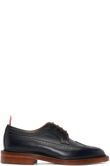 Thom Browne - Navy Leather Longwing Brogues
