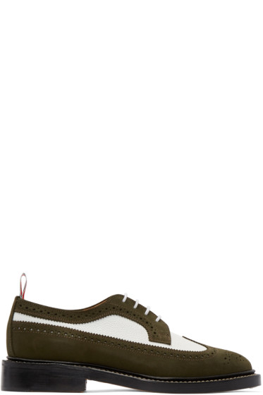 Thom Browne - Green & White Suede Longwing Brogues