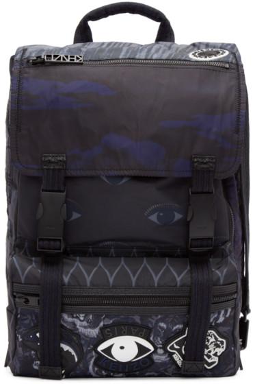 Kenzo - Navy Nylon Flying Tiger Backpack