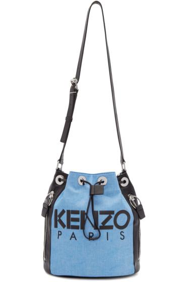 Kenzo - Blue & Black Denim Bucket Bag