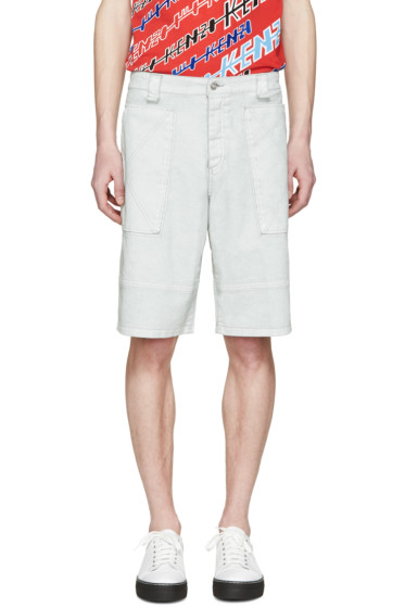 Kenzo - Grey Coated Cargo Shorts