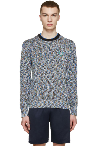 Kenzo - Blue Marled Tiger Appliqué Sweater