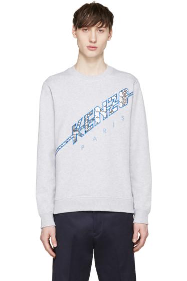 Kenzo - Grey Diagonal Logo Pullover