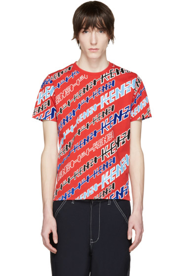 Kenzo - Red Diagonal Stripe T-Shirt