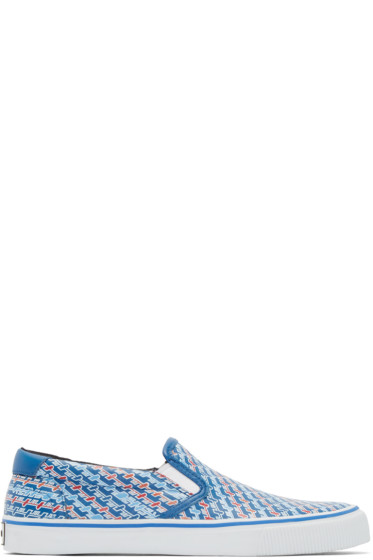 Kenzo - Blue Leather Diagonal Slip-On Sneakers