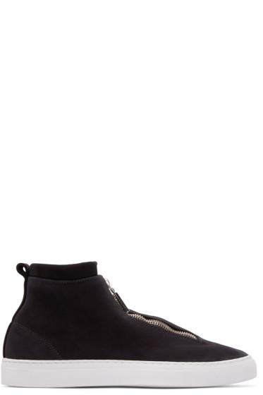 Diemme - Black Leather Fontesi High-Top Sneakers