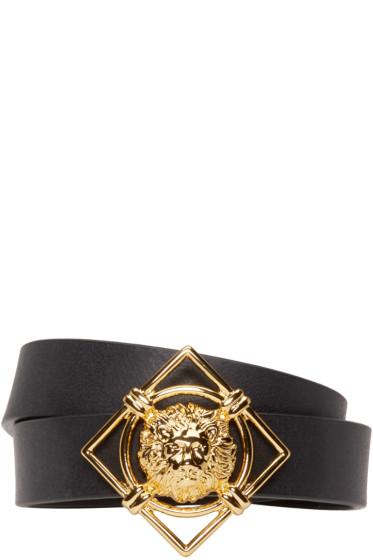 Versus - Black & Gold Leather Lion Medallion Bracelet