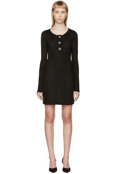 Versus - Black Rib Knit Henley Dress