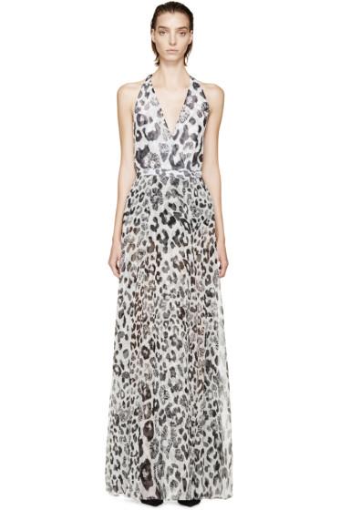 Versus - White Lion & Leopard Halter Anthony Vaccarello Edition Dress