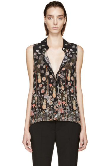 Versus - Black Patterned Anthony Vaccarello Edition Flared Blouse