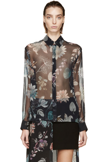 Versus - Black Silk Anthony Vaccarello Edition Floral Shirt