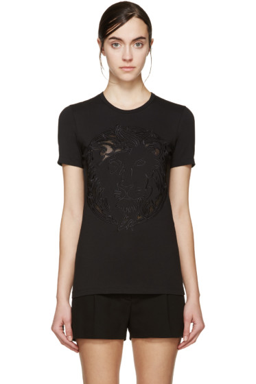 Versus - Black Embroidered Lion T-Shirt
