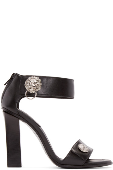 Versus - Black leather Lion Sandals