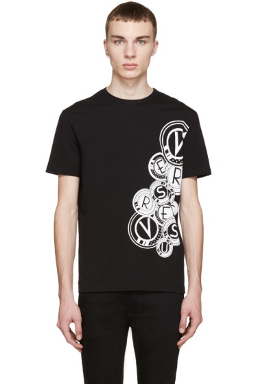 Versus - Black & White Medallion Logo T-Shirt