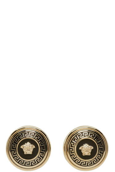 Versace - Gold & Black Medusa Stud Earrings