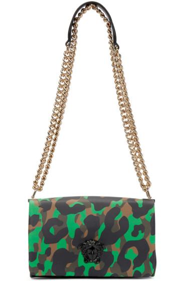 Versace - Green & Brown Camouflage Large Medusa Bag