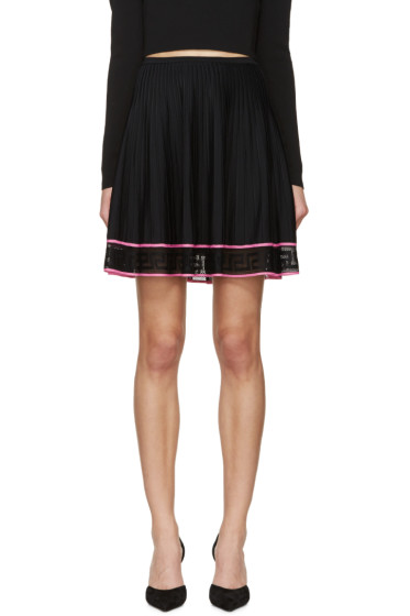 Versace - Black Pleated Greek Key Skirt