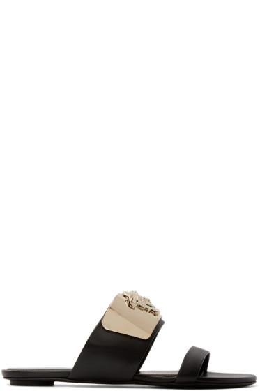 Versace - Black Medusa Plaque Sandals