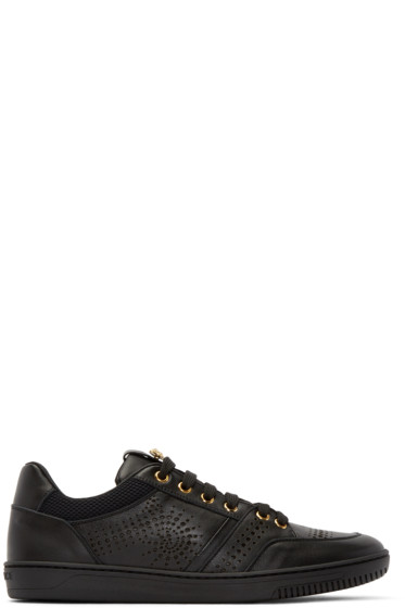 Versace - Black Leather Perforated Sneakers