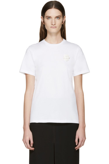 Simone Rocha - White Beaded Appliqué T-Shirt
