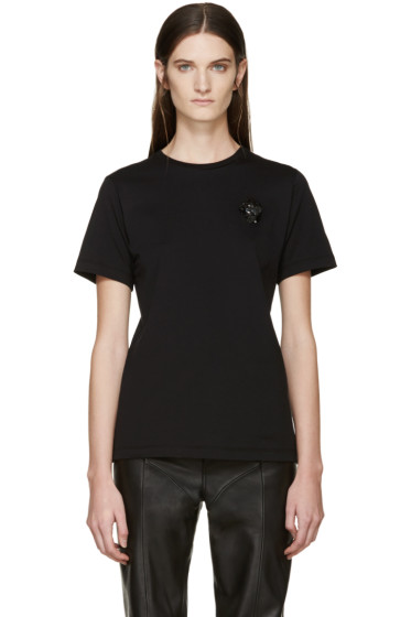 Simone Rocha - Black Beaded Appliqué T-Shirt