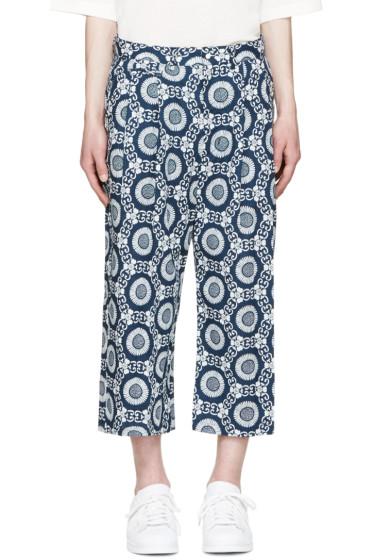 Sasquatchfabrix - Blue & White Oriental Cropped Pants