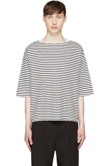 Sasquatchfabrix - White & Black Striped Boatneck T-Shirt