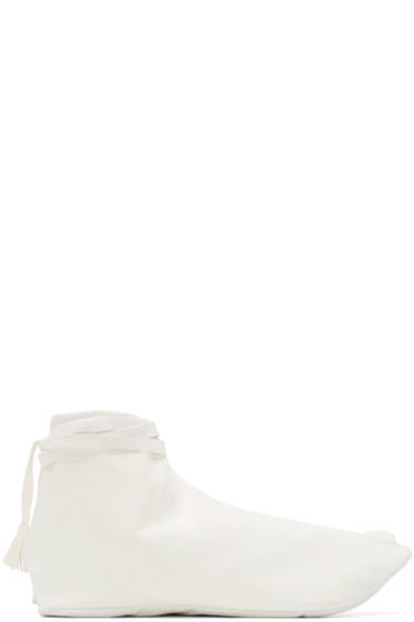 Sasquatchfabrix - White Leather Tabi Boots