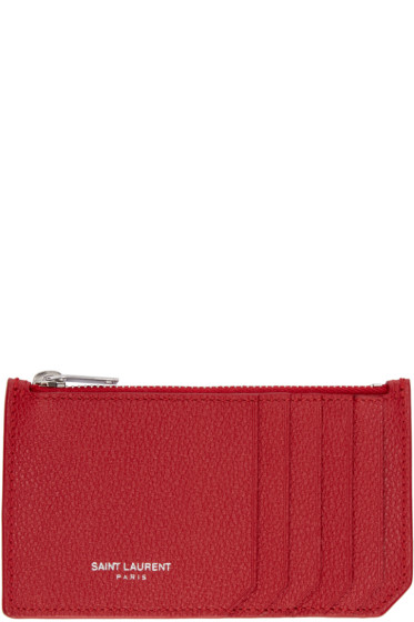 Saint Laurent - Red Leather Zippered Fragments Wallet