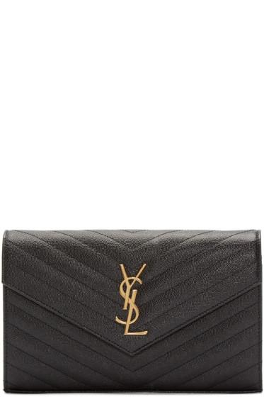 Saint Laurent - Black Pebbled Monogram Chain Wallet