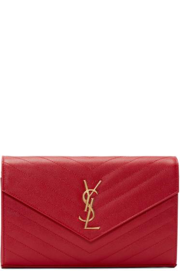 Saint Laurent - Red Quilted Monogram Envelope Clutch