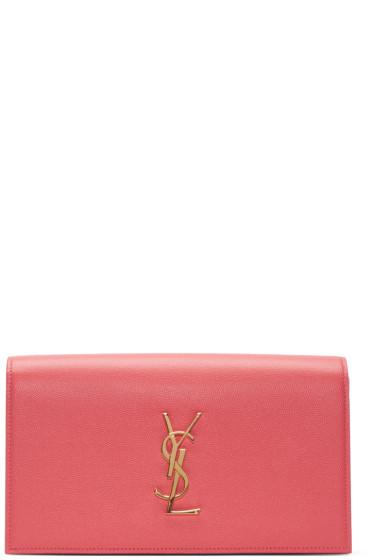 Saint Laurent - Pink Monogram Envelope Clutch