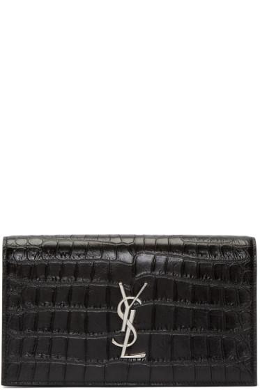 Saint Laurent - Black Croc-Embossed Monogram Clutch
