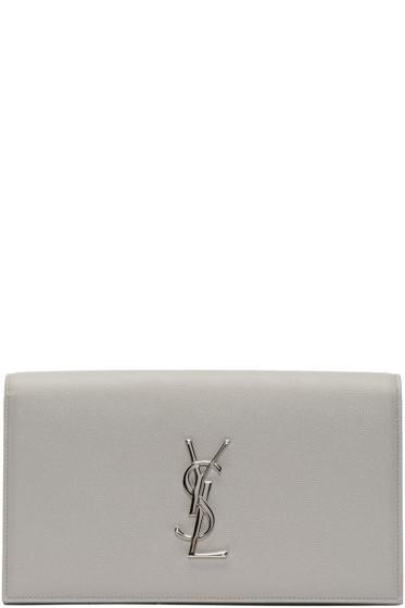 Saint Laurent - Grey Monogram Envelope Clutch