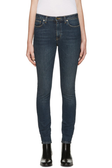 Saint Laurent - Blue Cropped Skinny Jeans