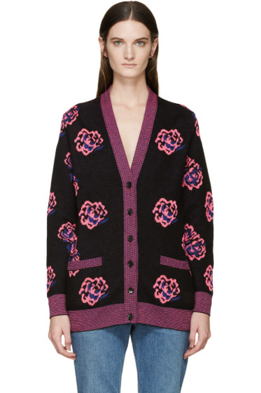 Saint Laurent - Black & Pink Wool Rose Cardigan