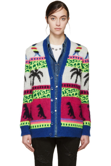 Saint Laurent - Multicolor Mohair Palm Tree Cardigan