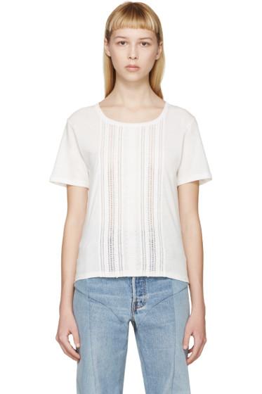 Saint Laurent - White Broderie Anglaise T-Shirt