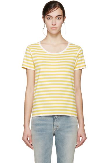 Saint Laurent - Yellow & White Striped T-Shirt